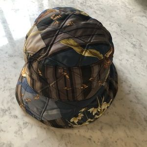 Salvatore Ferragamo Silk Bird Print Bucket Hat
